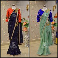 Wardrobe Check!!!! Looking for something fresh ..Here is one such from Team Teja  that  your wardrobe  needs for this  Ugadi  ..Colours can be Customised  to your choice.TS-SR-363 364Available Pre Draped Pure Chiffon sarees with a beautiful hand embroidered Contrast blouses... For orders/querieswhatu2019s app/Call  us on8341382382 orMail us tejasarees@yahoo.com. 19 March 2017