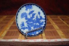 """Asian Blue on White Porcelain Floral and Leaf Design Saucer 5"""" Marked  #Saucer…"""