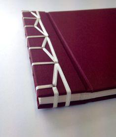 Photo album with Japanese stab binding using ribbon