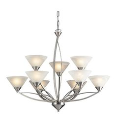 ELK Lighting Elysburg 9 Light Chandelier in Satin Nickel 7638/6+3 #lightingnewyork #lny #lighting