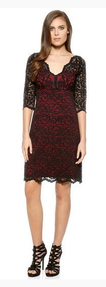 Sexy Red and Black Scallop Lace Holiday Party Dress 384797831