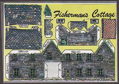X2600 Cut out postcard, The Fisherman's Cottage, Fiddlers Green, W6, 4 by 6 inch
