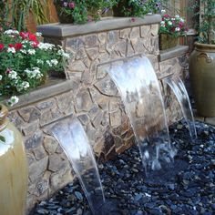 backyard water features | Water Features for the Garden Pondless water feature with 3 spillways ...