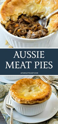 Aussie Meat Pies - A Family Feast® Aussie Meat Pies are filled with beef and vegetables in a rich and delicious gravy. The entire family is sure to love this hearty and delicious comfort food! Australian Meat Pie, Aussie Food, Aussie Pie, Casserole Recipes, Meat Recipes, Cooking Recipes, Cooking Stuff, Supper Recipes, Curry Recipes