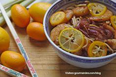 Pâtes chinoises aux crevettes goûts agrumes kumquat, lemonquat et citronnelle / Visites gourmandes Kumquat, Nouvel An, Direction, Shrimp, Meat, Vegetables, Food, Lemon Grass, China