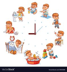 Daily routine with simple watches Vector set with baby boy Funny cartoon character Vector illustrati Kinder Routine-chart, Teaching Kids, Kids Learning, Funny Babies, Cute Babies, Kids Routine Chart, Baby Cartoon Characters, Simple Watches, Funny Cartoons