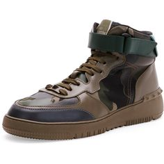 Valentino Rockstud Camo High-Top Sneaker ($995) ❤ liked on Polyvore featuring shoes, sneakers, green, camouflage shoes, green shoes, green sneakers, green high tops and camouflage sneakers