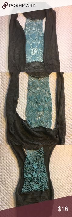 Knitted + Knotted Sweater Vest Size m/l. Dark grey cotton sweater vest with turquoise crocheted back detail. Could be worn year round. Tops