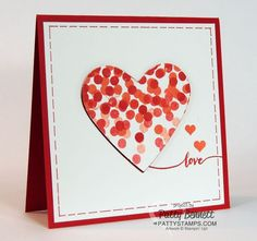Dotty Angles stamp set quick and easy Stampin' UP! Valentine / heart card idea by Patty Bennett