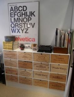 Drawer unit made up using wine crates