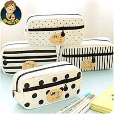 1 Piece/lot New Large Canvas Stripe Dots Cute School Pencil Case for Girls… Pencil Cases For Girls, Cute Pencil Case, School Pencil Case, Pencil Case Tutorial, School Organization For Teens, School Ideas, Vanity Bag, Cute Stationary, School Accessories