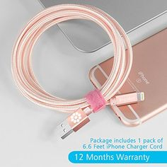 iPhone 6S Charger, Rose Gold Cable, 6.6 Feet Long F-color™ Braided Lightning Cable Cord to USB Cord Apple Certified for iPhone 6S 6 Plus 5 5S 5C iPad Air 2 Mini 4 iPad Pro Rose Gold / Rose Pink  Apple MFi Certified Cable with 12 Months Warranty!     F-color 8 Pin Lightning Cable using original connector from Apple Inc., 100% compatibility to transmit data and charging stably and fast without error message.    Premium Nylon Braided Design    Sturdy, Durable and Tangle-free Nylon fabri..
