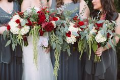 This may be one of our favorite winter looks! The reds, creams, whites, greens, and greys create such a chic look // Photo by Leah Bullard  #winterwedding #weddingbouquets #castletonfarms #bridesmaidsdresses #weddingcolors #wedding