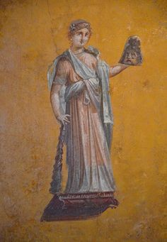Fresco fragments depicting Melpomene (Muse of Tragedy), 62-79 AD, from Pompeii