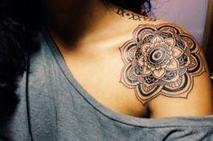 Blue Lotus Flower Mandala | Mehndi Influenced Elephant Tattoos
