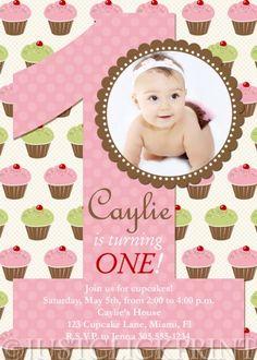 Cupcake invite birthday party sweet treats cupcake invitation photo yummy cupcakes girls 1st first birthday photo invitation uprint filmwisefo