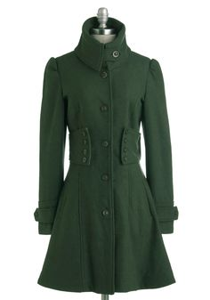 The Importance of Being Forest Coat - Green, Solid, Buttons, Long Sleeve, Long, 4, Pockets, Winter