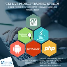 MZOS - IT Training Institute in Pune. Place yourself in the reputed IT companies after Training, we provide most demanding course in the market. Join the best #IT_training_institute and get guaranteed placement assurance. Complete practical classes with live projects.  Your dream #career awaits you, Register Today @ http://www.matrixzeroonesystems.com/