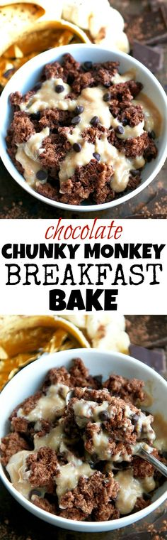 This healthy Chocolate Chunky Monkey Breakfast bake combines the light and fluffy texture of a muffin with the hearty staying power of baked oats! PERFECT for anyone who loves eating dessert for breakfast! | runningwithspoons.com #vegan #breakfast #healthy #recipe