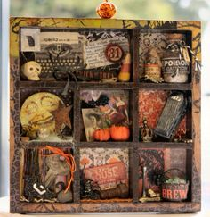 I've never seen a box like that at the dollar store, but maybe a craft store, I love this! Good place for all my random tiny treasures. Retro Halloween, Halloween Arts And Crafts, Halloween Items, Halloween House, Halloween Cards, Spooky Halloween, Holiday Crafts, Rustic Halloween, Halloween Displays