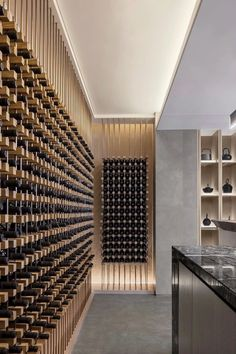 Wine Cellar – Hangzhou Greentown Xixi Yunxiao – Horseshoe In… – Wine World Wine Rack Design, Wine Cellar Design, Wine Rack Inspiration, Unique Wine Racks, Feature Wall Design, Home Wine Cellars, Wine Display, Wine Wall, Wine Storage