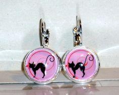 Ohrringe Katze Tier Rosa Damen Hänger Ohrschmuck Modeschmuck Leverback Glas