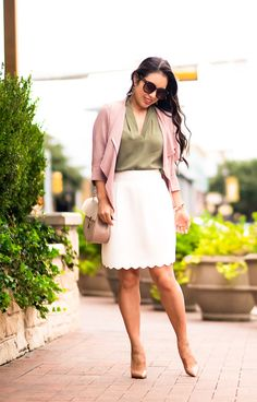 look_CuteLittleStore - Tunic - Pink Jacket - Skirt - Heels - Crossbody Bag - Sunglasses - Earrings