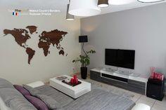 MapaWall Walnut wooden world map