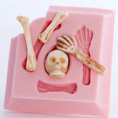 Skeleton fondant mold  skull and bones food mold  door MoldMeShapeMe