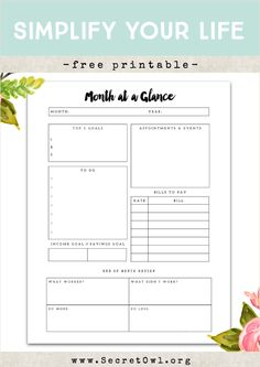 Secret OWL Society: Free Printable - Month at a Glance