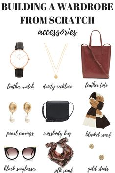 Here's how to build a wardrobe from scratch starting with your accessories. … Here's how to build a wardrobe from scratch starting with your accessories. Your capsule minimalist wardrobe is just one step away! French Minimalist Wardrobe, Minimalist Wardrobe Essentials, Minimalist Fashion, Minimal Wardrobe, Minimalist Shoes, French Capsule Wardrobe, Classic Wardrobe, French Wardrobe Basics, Build A Wardrobe