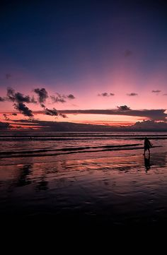 Surfer and Sunset, Bali, Indonesia