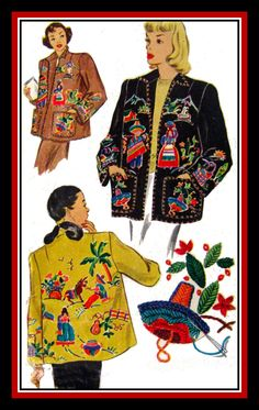 Vintage 1948-MEXICAN SOUVENIR JACKET-Sewing Pattern-Transfer for Embroidery-Wing Collar-Fabric or Felt-Size 14-16-Mega Rare-Collectible by FarfallaDesignStudio on Etsy