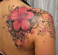 pink-flower-tattoo-on-shoulders