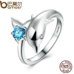 Authentic 100% 925 Sterling Silver Dolphin's Love & Blue Crystal Finger Ring