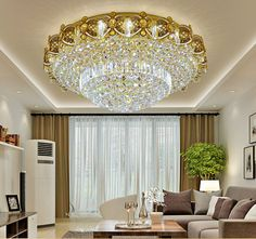 LED Remote Control Crystal Gold Ceiling Light Chandeliers Lighting Lamps New. Home Lighting Lamp Ideas For Living Room, Bedroom, etc. Country Chandelier, Chandelier In Living Room, Bedroom Lamps, Living Room Lighting, Bedroom Stuff, Crystal Ceiling Light, Lamp Light, Chandelier Lighting Fixtures, Round Chandelier