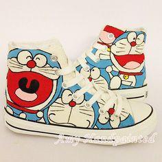Doraemon peint à la main plat hommes femmes baskets personnalisé fait 100 % peinture toile cadeau haut top mode Chaussures pour les couples