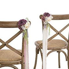 Ling's moment Wedding Chair Decorations Flowers Wedding Aisle Decor Flowers Set of 8 Dusty Rose/Plum/Cream Pew Flowers, Hanging Flowers, Fake Flowers, Silk Flowers, Wedding Flowers, Purple Flowers, Wedding Aisles, Small Flower Arrangements, Wedding Arrangements