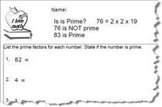 Free Prime Number Worksheets: Prime Number Worksheet 3 of 10 (PDF Below)