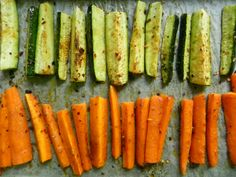 Zucchini and carrot sticks --preheat oven to 425. cut veggies into 3-inch sticks and layer on baking tray with olive oil. Season with pepper, salt, and choose two of the following (see recipe from voraciousvander.com)