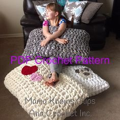 Jumbo Floor Pillow - This pattern is simple and easy, using three strands of super bulky Bernat Blanket yarn, your 25mm crochet hook and a few buttons you can whip up this project in a couple of hours. I used inexpensive pillows to stuff them, purchased at a famous big box store for less than $4 each. - FREE CROCHET PATTERN