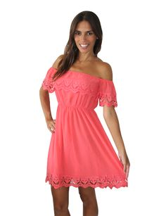 Off the Shoulder Lace Trim Coral Dress  This would look cute with cowgirl boots