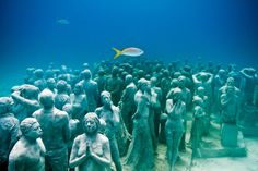 Cancún Underwater Museum, Cancún, Mexico. Sculptor Jason deCaires Taylor has made the sculptures, that were placed underwater off the coast of Isla de Mujeres.