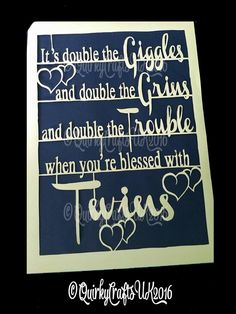 Commercial Licence Papercutting Template 'It's double the giggles..Twins' - Motivational quote, ideal new baby twins gift. Instant download. by QuirkyCraftsUK on Etsy