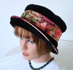 Hat  black Velvet  Cloche  Size 57 cm  224 inch by MermaidsHatbox
