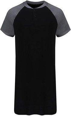 cf95a4df1a Runcati Mens Sleepshirt Short Sleeve Nightgown Raglan Long Night Shirts  Henley Sleepwear Nightwear at Amazon Men s