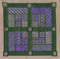 "Garden Party 8"" x 8"" on 24 ct pewter Congress Cloth Pattern: $12.00 - by Laura J Perin Designs"