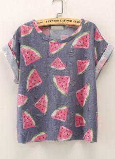 T-Shirt motif pastèque manche courte-French SheIn(Sheinside)Site Mobile