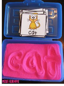 Fill a pencil box with sand to make an easy grab and go center to practice words - love these ideas