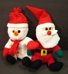 "8"" SANTA And SNOWMAN Set Christmas Soft Plush Stuffed Toys"